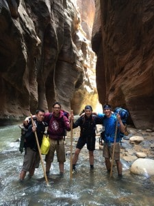 Group shot of us on the second day of The Narrows hike - Zion National Park.