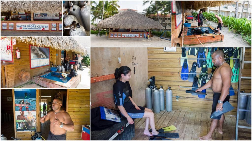 gearing up at the seapro divers dive shop at dreams palm beach resort in punta cana