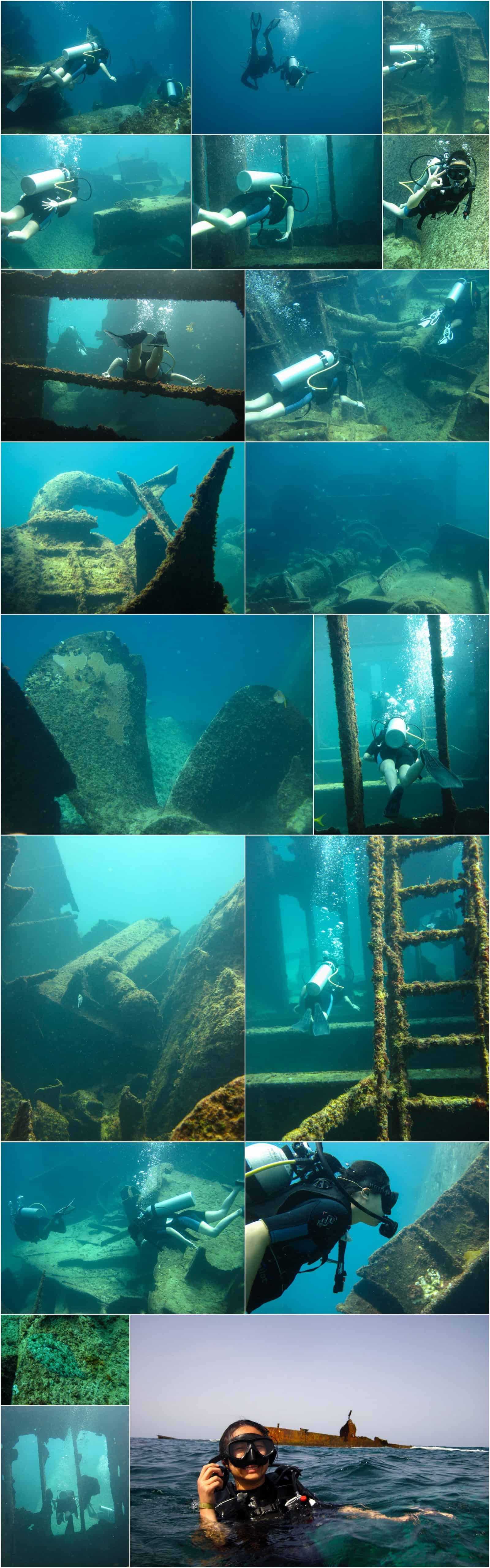 mosaic of phots from the astron wreck dive with seapro divers in punta cana dominican republic