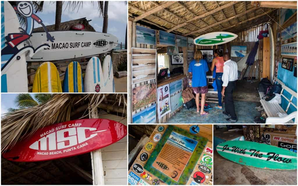 mosaic of photos with the interior of the macau surf camp beach hut and office