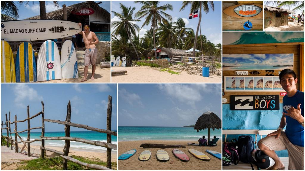mosaic of photos around macao surf camp