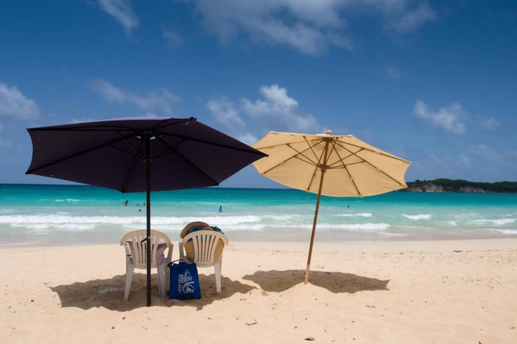 macao beach umbrellas and white sand beach