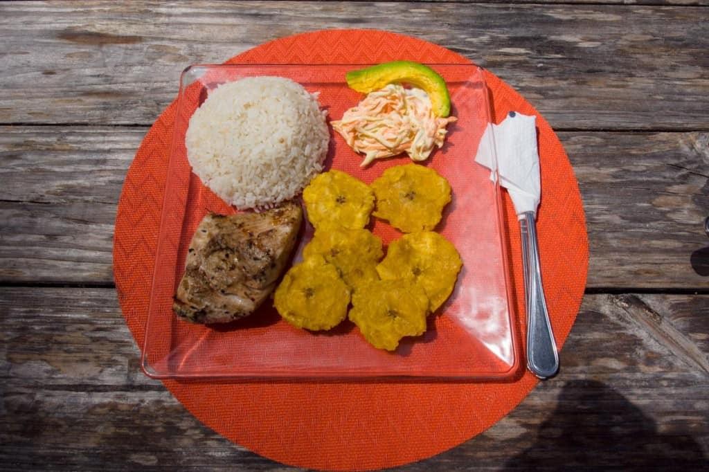 mahi mahi dish for lunch at macao surf camp