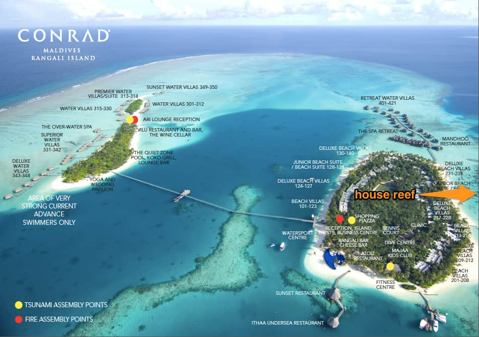Location of the house reef in relation to the whole resort.