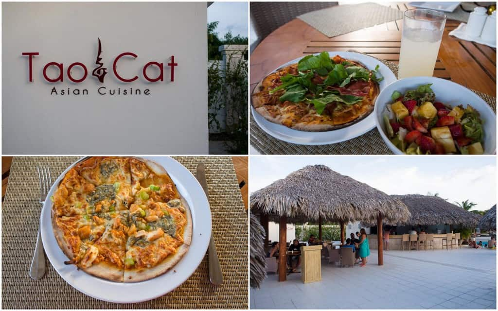 tao cat by the pool bar for a pizza snack