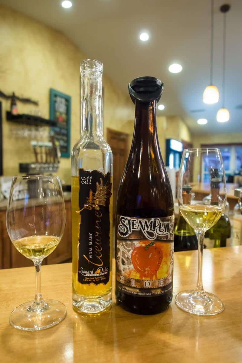 The Vidal Blanc Icewine with the Steampunk Cider.
