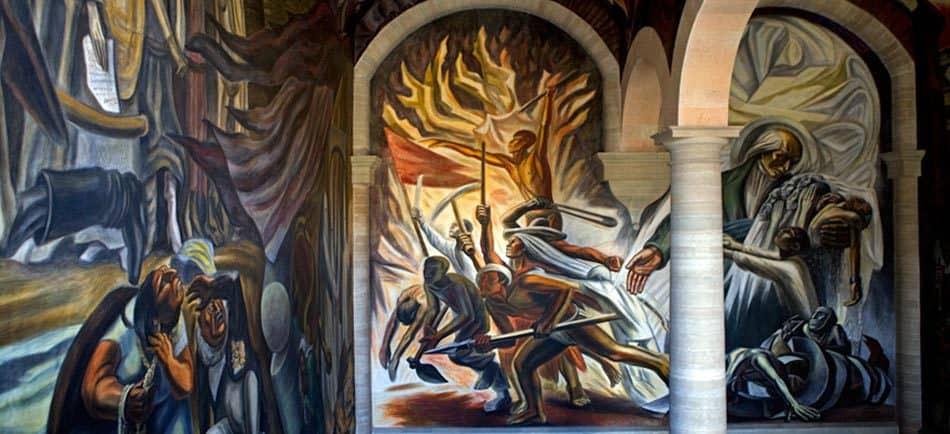 Artwork depicting the Mexican revoluation inside the Alhondiga de Granaditas.
