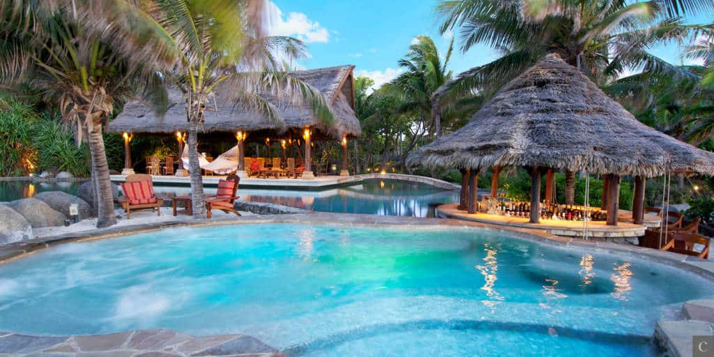 Necker Island pool and pavilions.