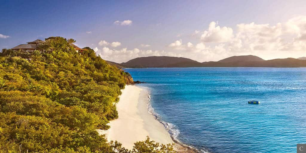 The view from the top of the hill on Necker Island.
