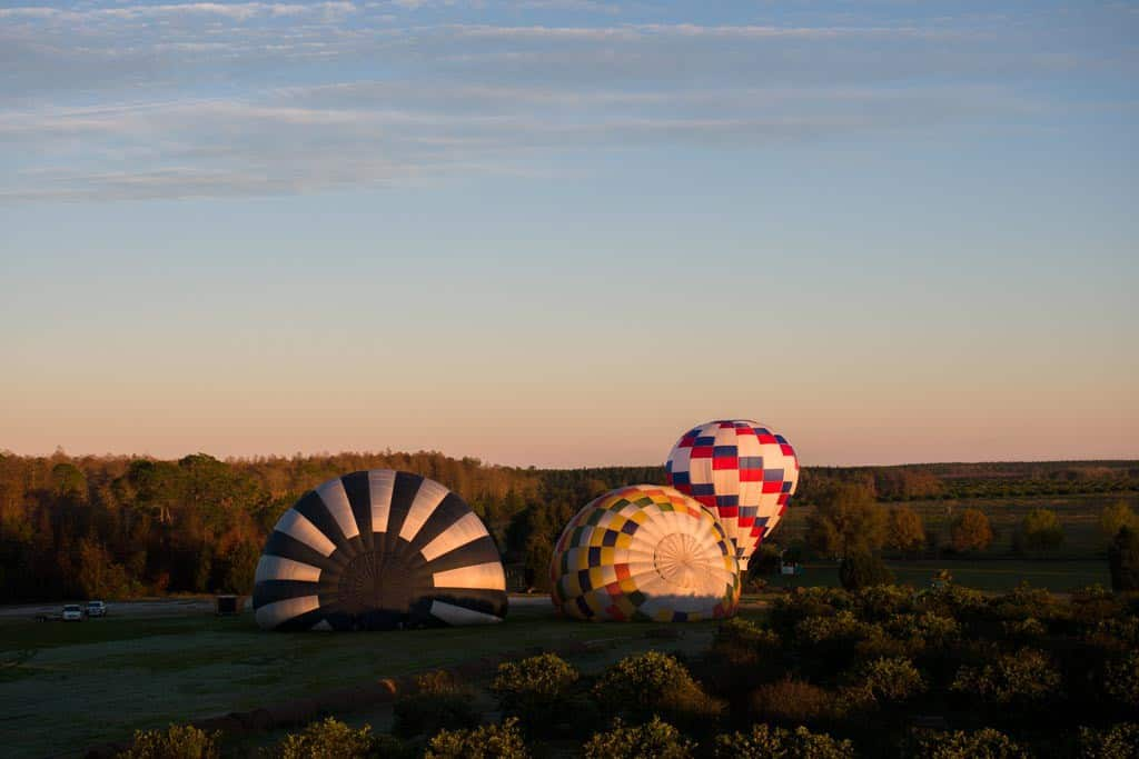 Hot Air Balloons Being Set Up