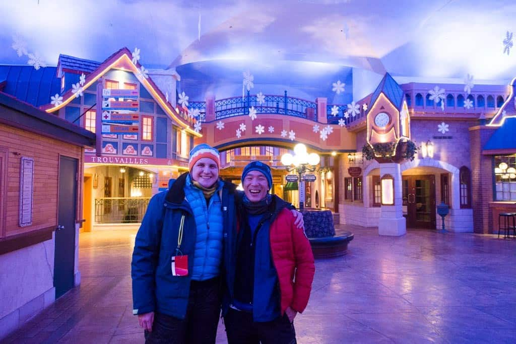 Anne-Marie and I are all smiles inside the Valcartier village.