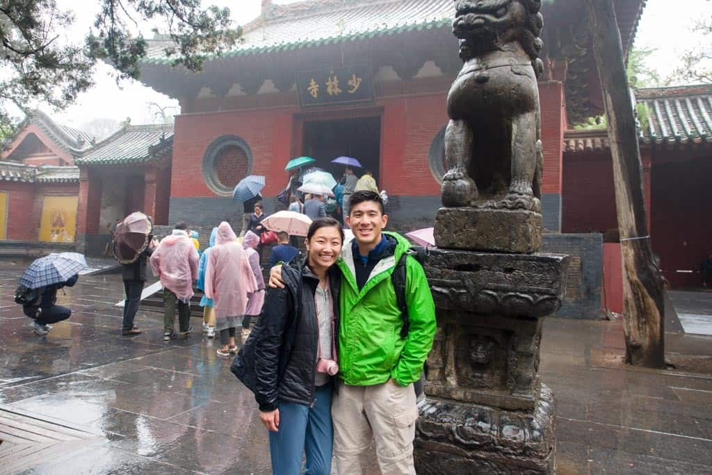 We thought the rain was over but it started up again after the show.  This is in front of the entrance to the actual Shaolin Temple.  It has quite the storied history.  Lisa gave us a ton of history facts about the monks but what tripped me up the most was all the dynasties this temple has seen through.