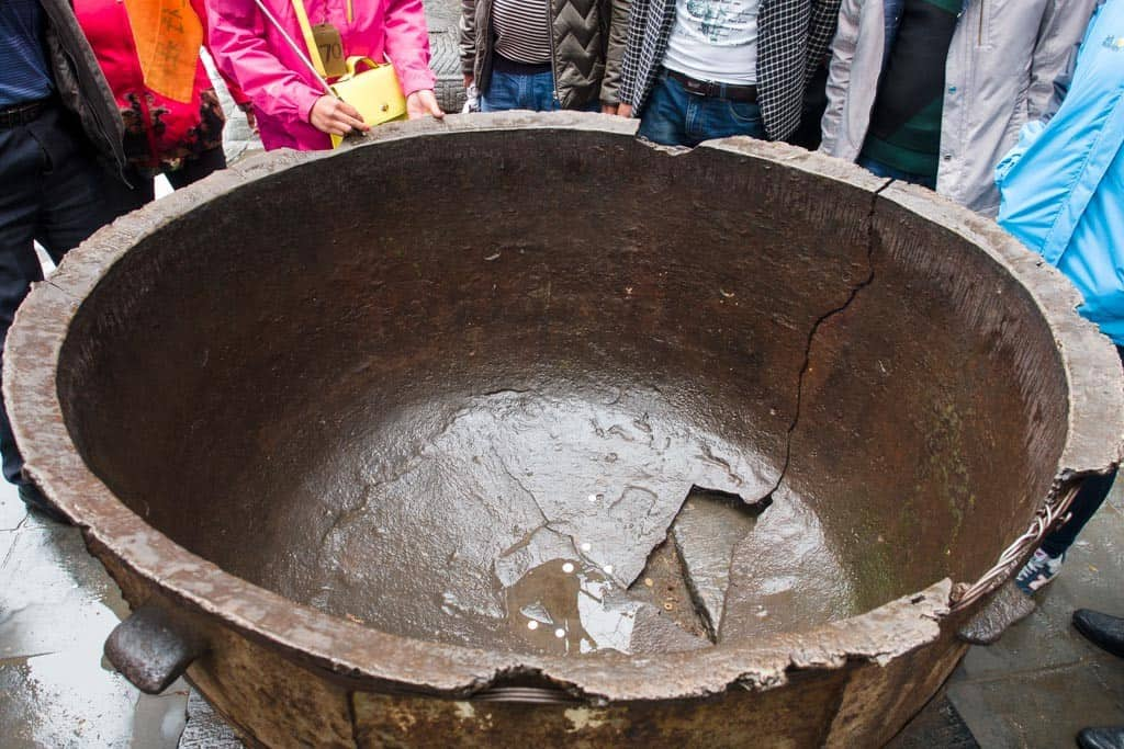 This cooking pot dates back  500 years and was used as a cooking wok for 2000 monks that lived here during the Ming Dynasty.