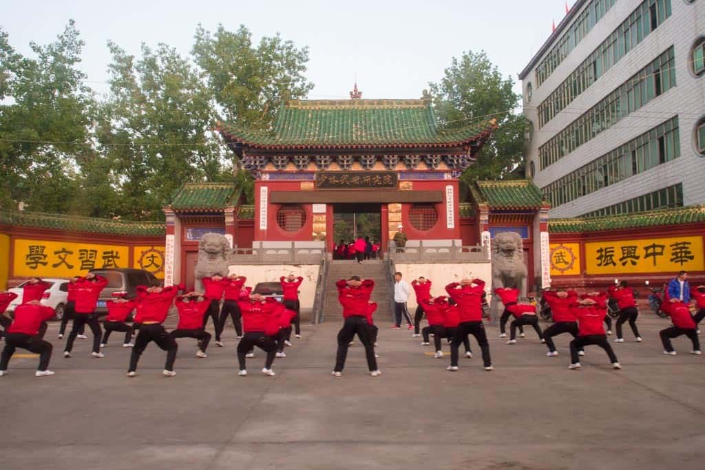 Shaolin Kung Fu Students Early Morning Exercise