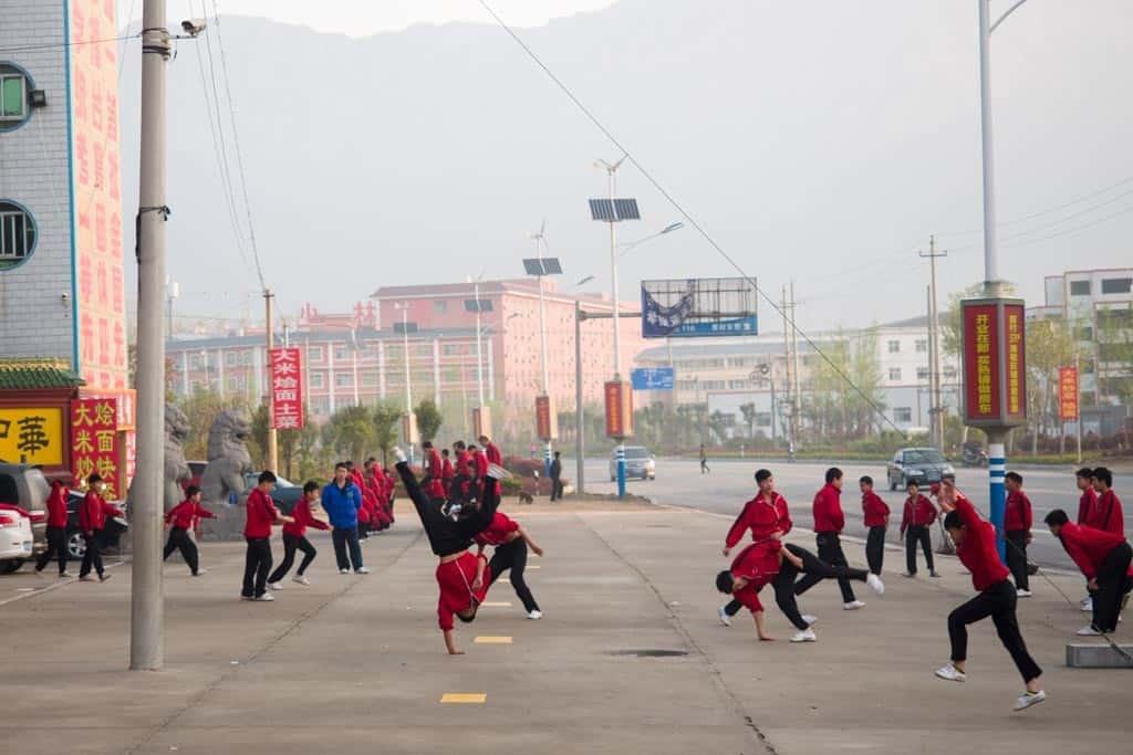 Shaolin Kung Fu School Kids Doing Cartwheels