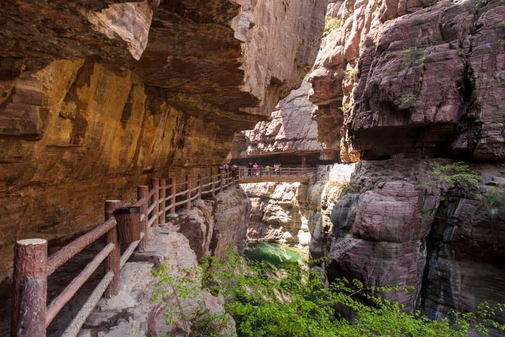 Yuntai Mountain Red Stone Gorge Windy Man Made Path