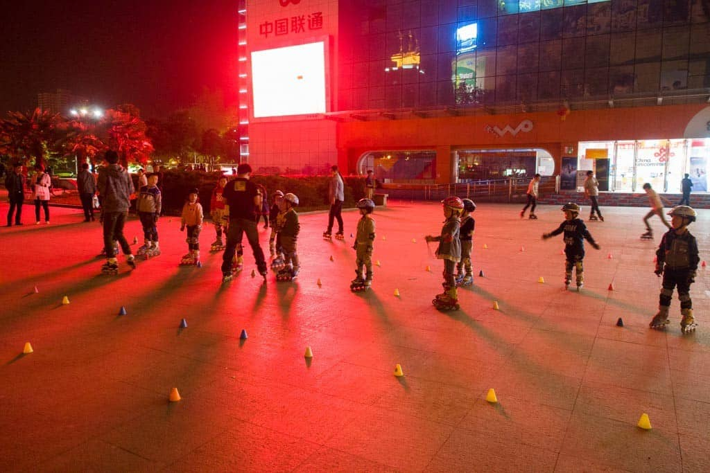Luoyang Local Kids Learning Rollerblading