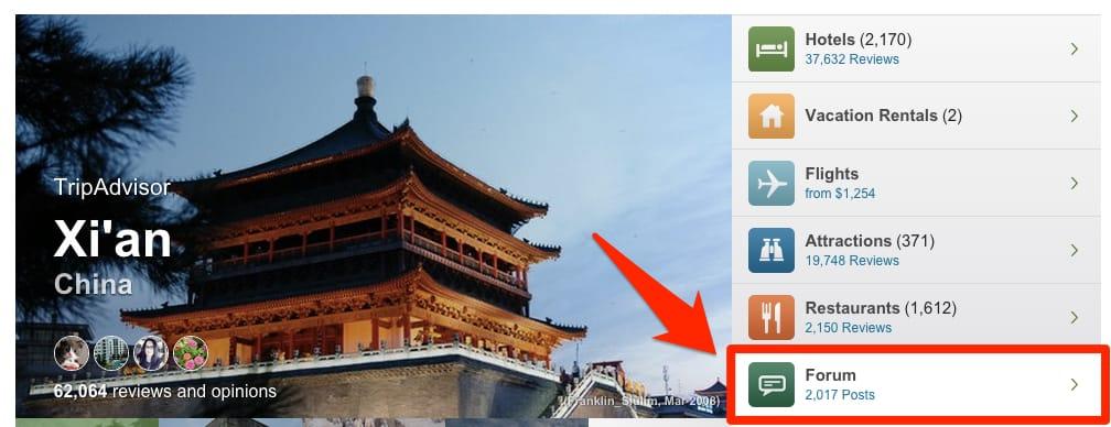 TripAdvisor Click on City Forum
