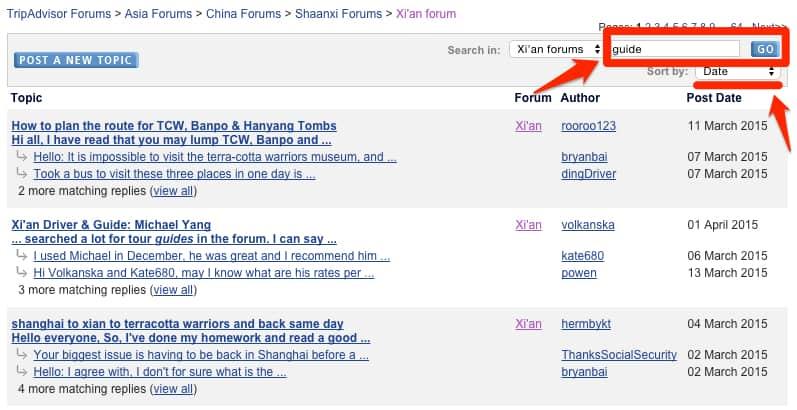 TripAdvisor Search for Guide in Forum