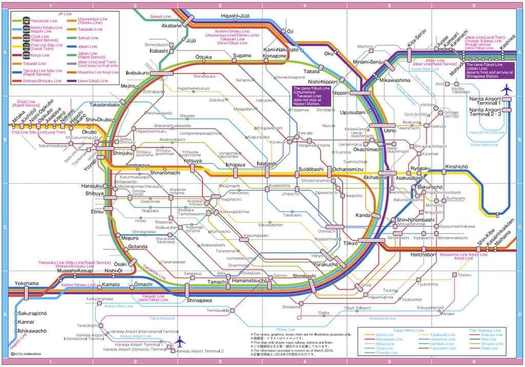 jr rail tokyo system map best way to get around tokyo transportation