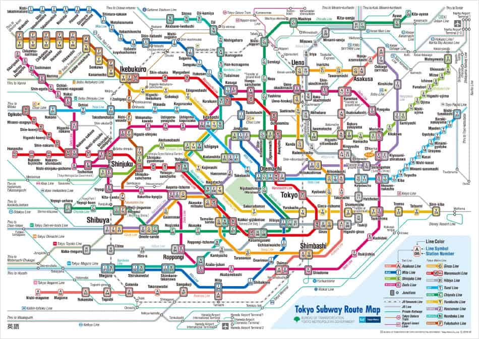 tokyo transportation - tokyo metro subway map