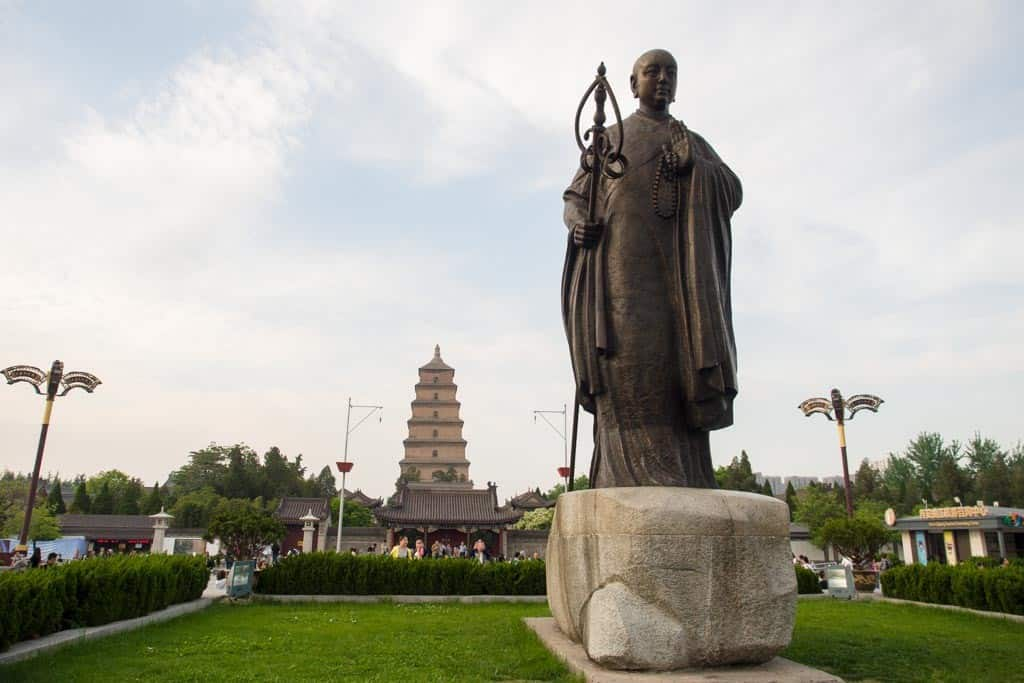View of Big Wild Goose Pagoda with statue of famous monk Xuanzang in front. I was really impressed with the square they've built here in XI'an.
