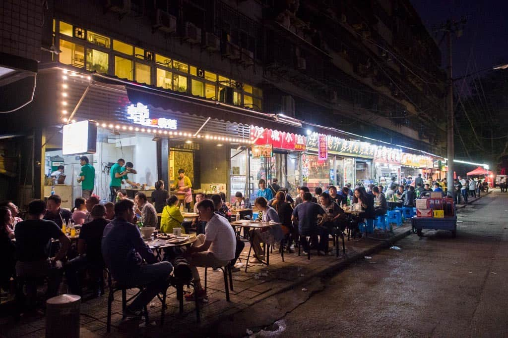 What you'll find with Xi'an is that they love their street food. Tons of restaurants line the streets with outdoor seating.