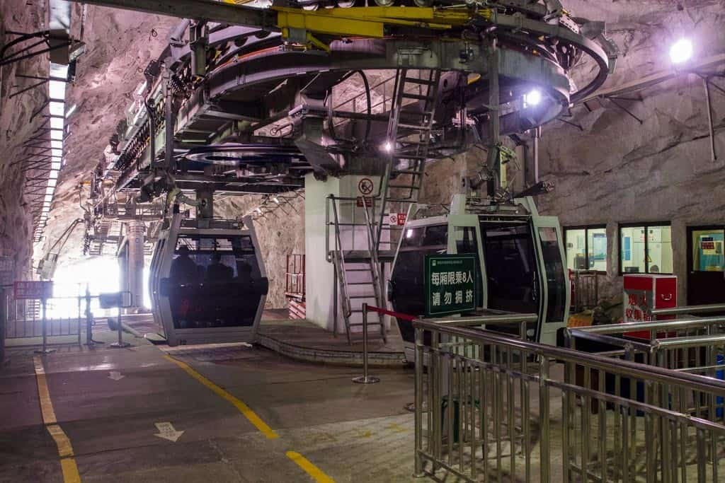 Disembarking from our gondola inside the cave drilled right into the mountain side. Unreal.