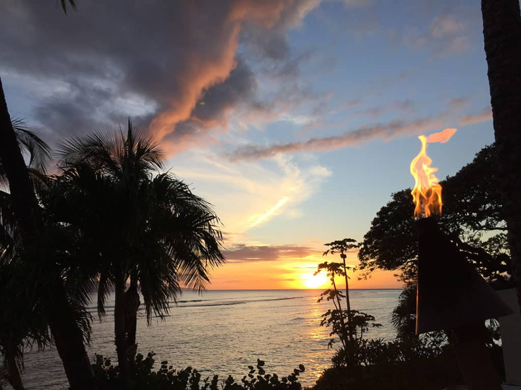 lahaina maui guide sunset at restaurant balcony with fire