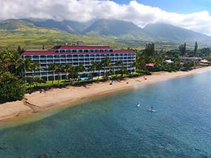 lahaina shores resort in maui aerial