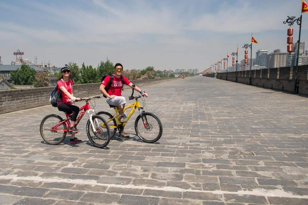 biking on the 2 day xi'an itinerary in china