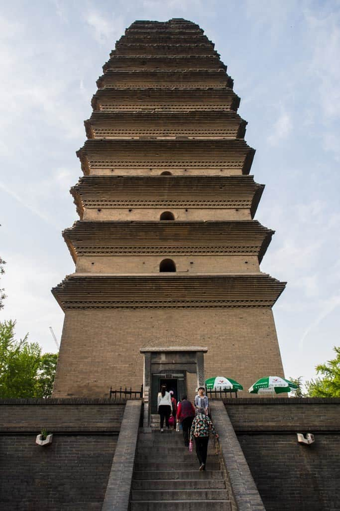 This pagoda stands 43 meters tall and features multi-eave brick on a square base.
