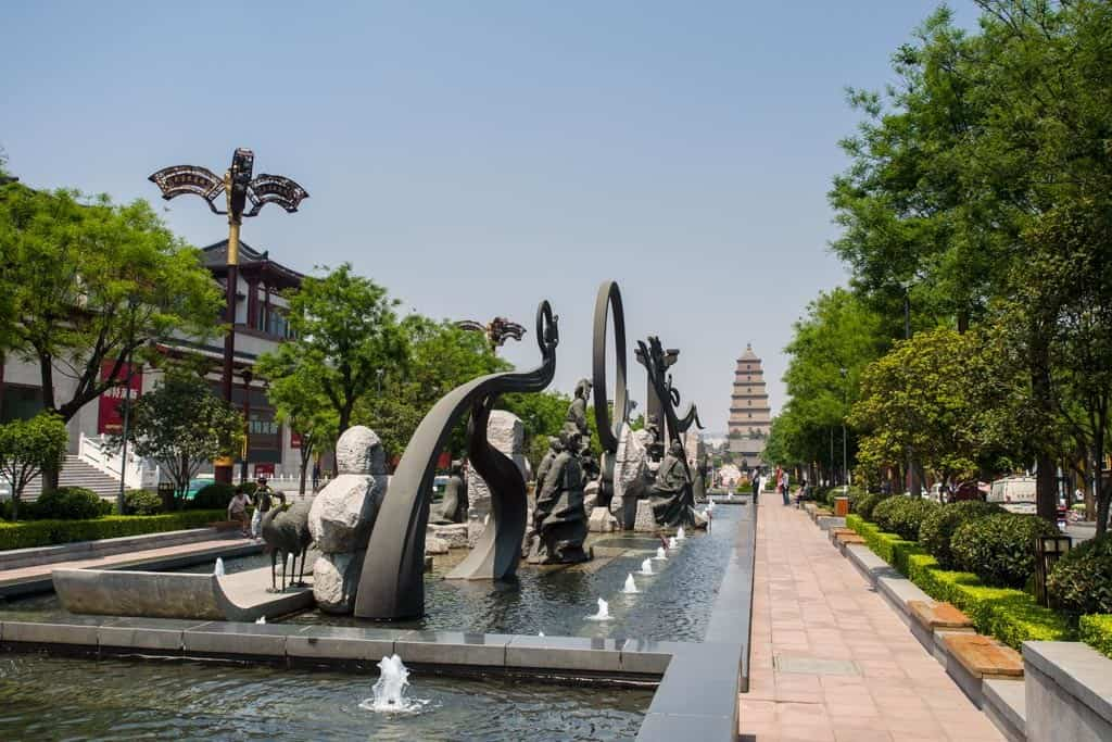 The southern side features some many sculptures that represent Xi'ans storied history.