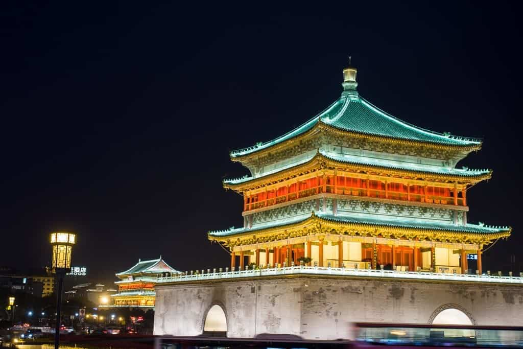 bell tower illuminated at night in xi'an china