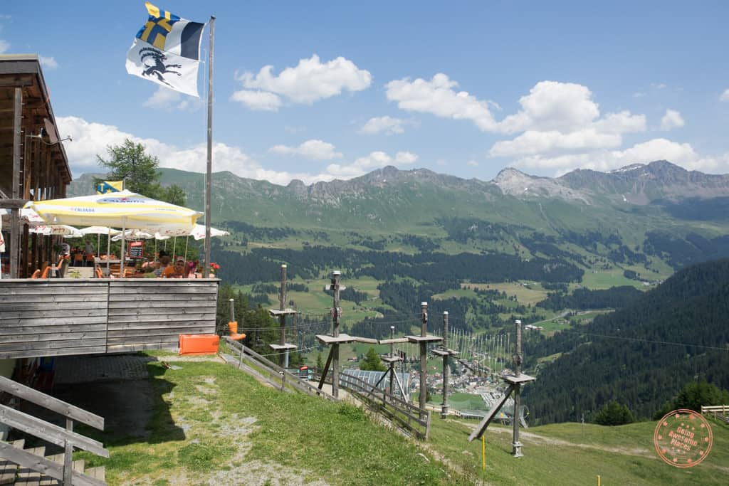 The lofty high flying ropes course and the world's longest alpine coaster enjoying stunning views of the Swiss Alps.