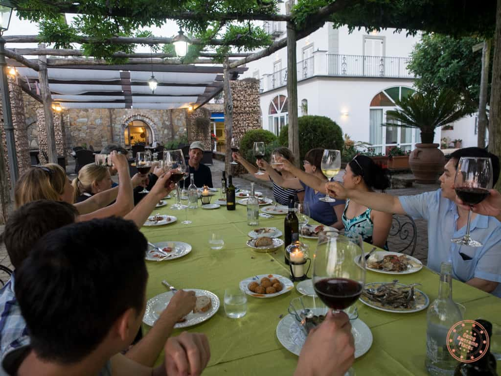 The 2015 Competitouristas toasting before the start of the Iron Chef challenge at a beautiful villa just outside of Sorrento.