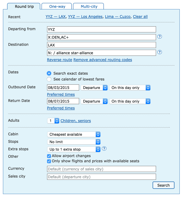 ITA Matrix Example Search