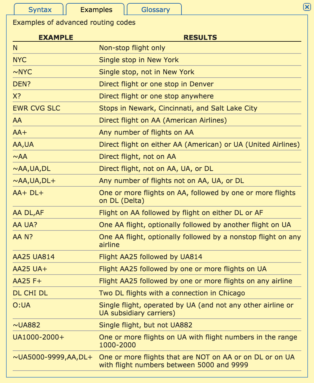 ITA Routing Codes Examples