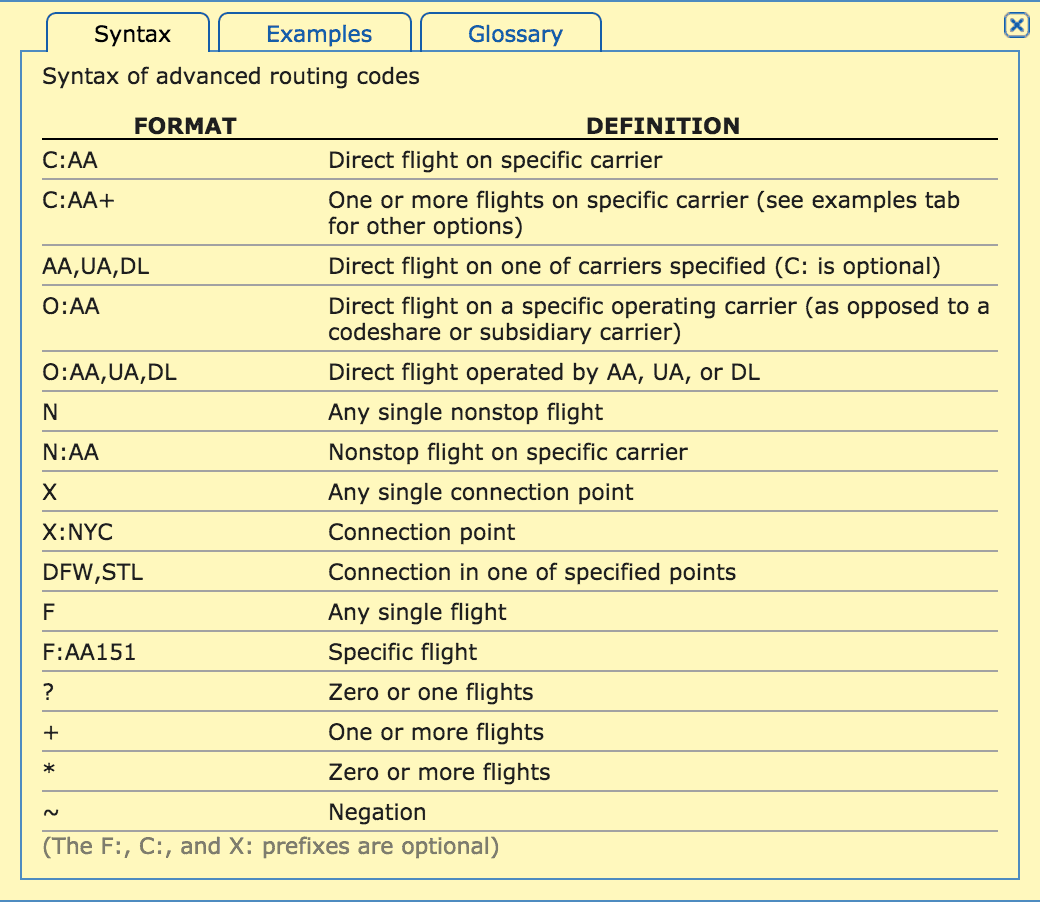 ITA Routing Codes Syntax