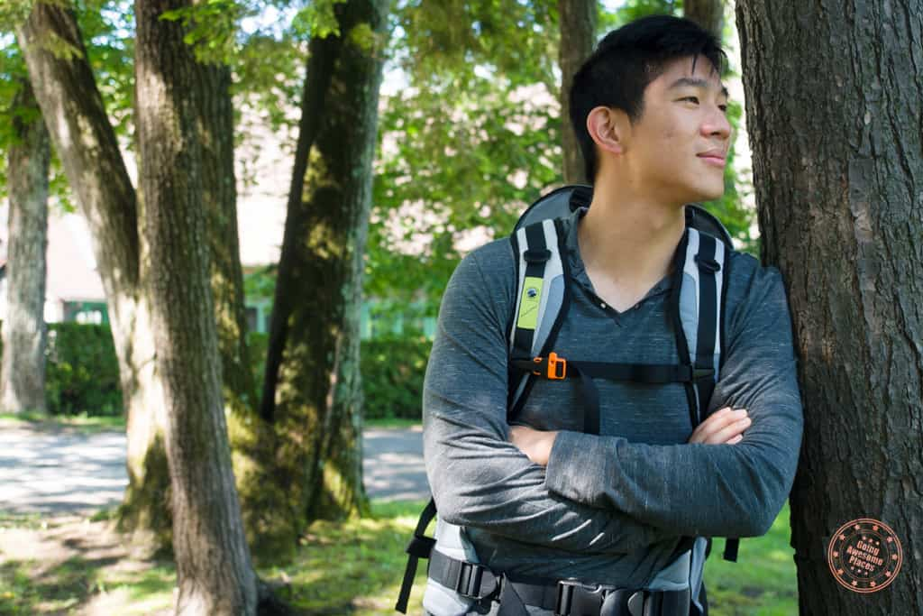 Wearing the Numinous 55L Anti-Theft Travel Backpack