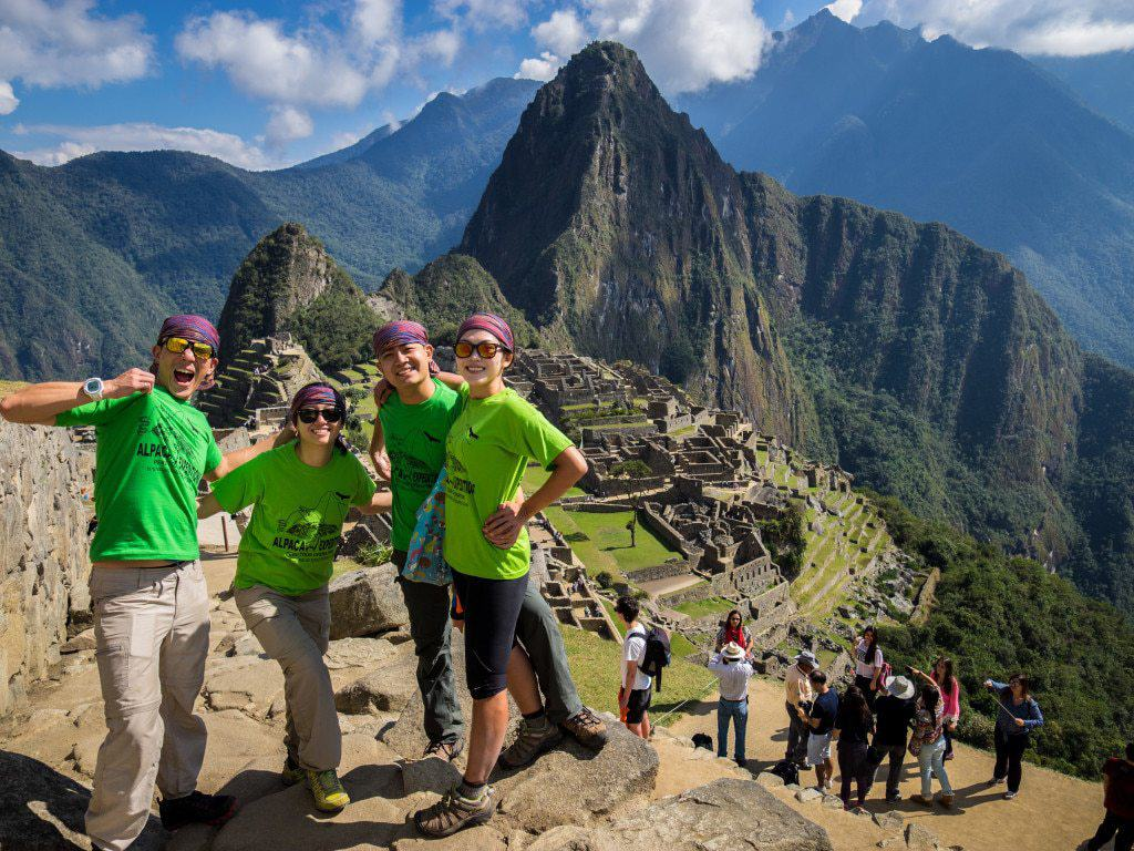 machu picchu hike with alpaca expeditions and green machine t-shirts