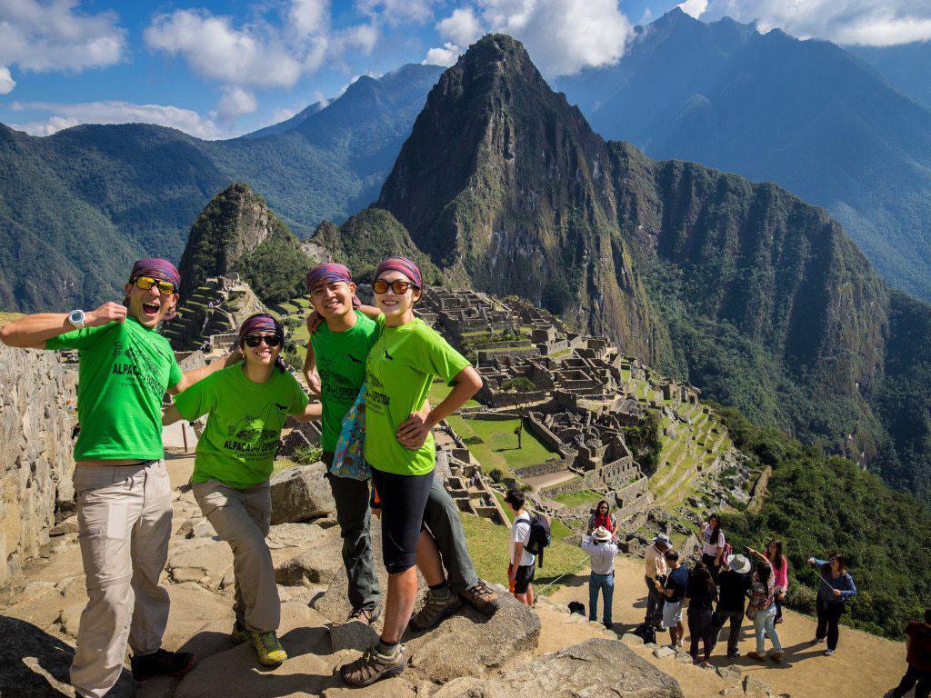 Celebrating Green Machine at Machu Picchu
