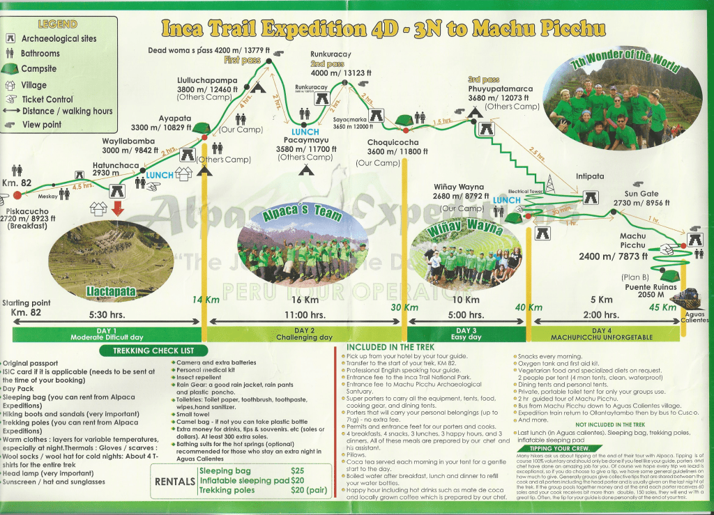 alpaca expeditions inca trail 4D 3N hike trail map to machu picchu