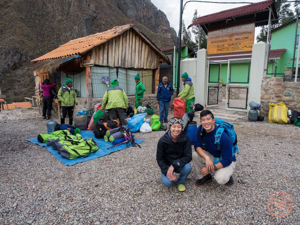 Just outside Marker 82, our porters get their gear ready by the Inca Trail office.