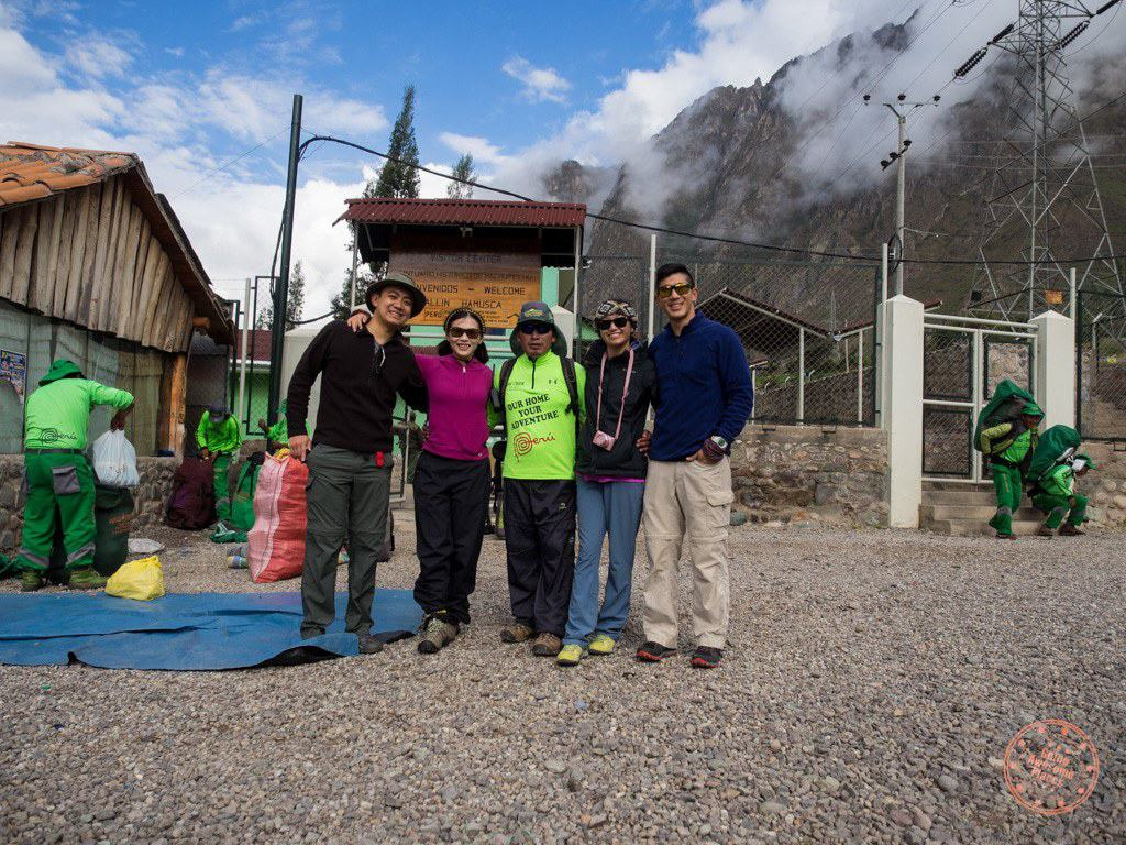 at the start of the inca trail with alpaca expeditions and starting hike to machu picchu