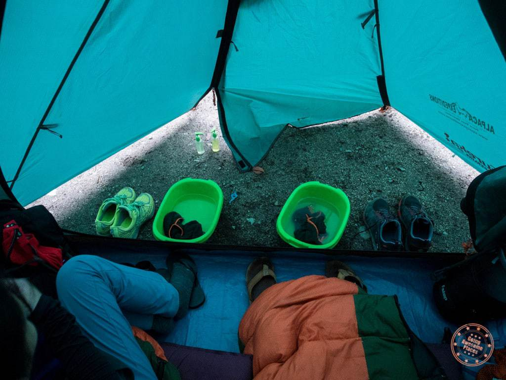 Everything was set up for us when we got to the campsite. They provided hot bowls of water and we were able to wash up.
