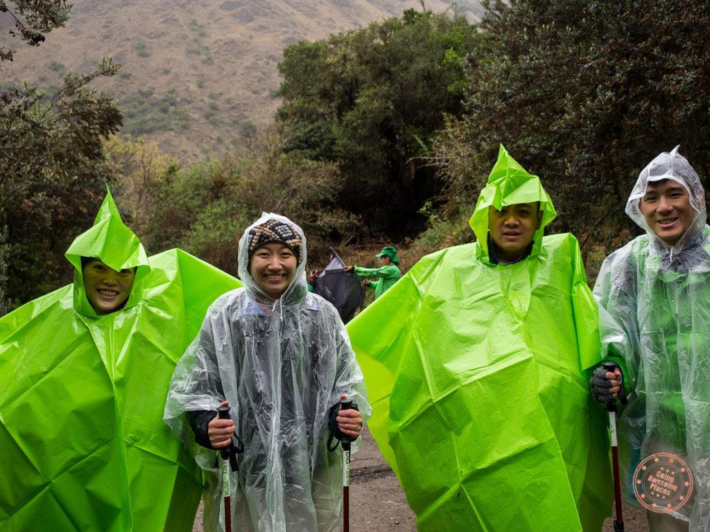 It was a rainy start to Day 2 so we put on our ponchos and hit the trail!