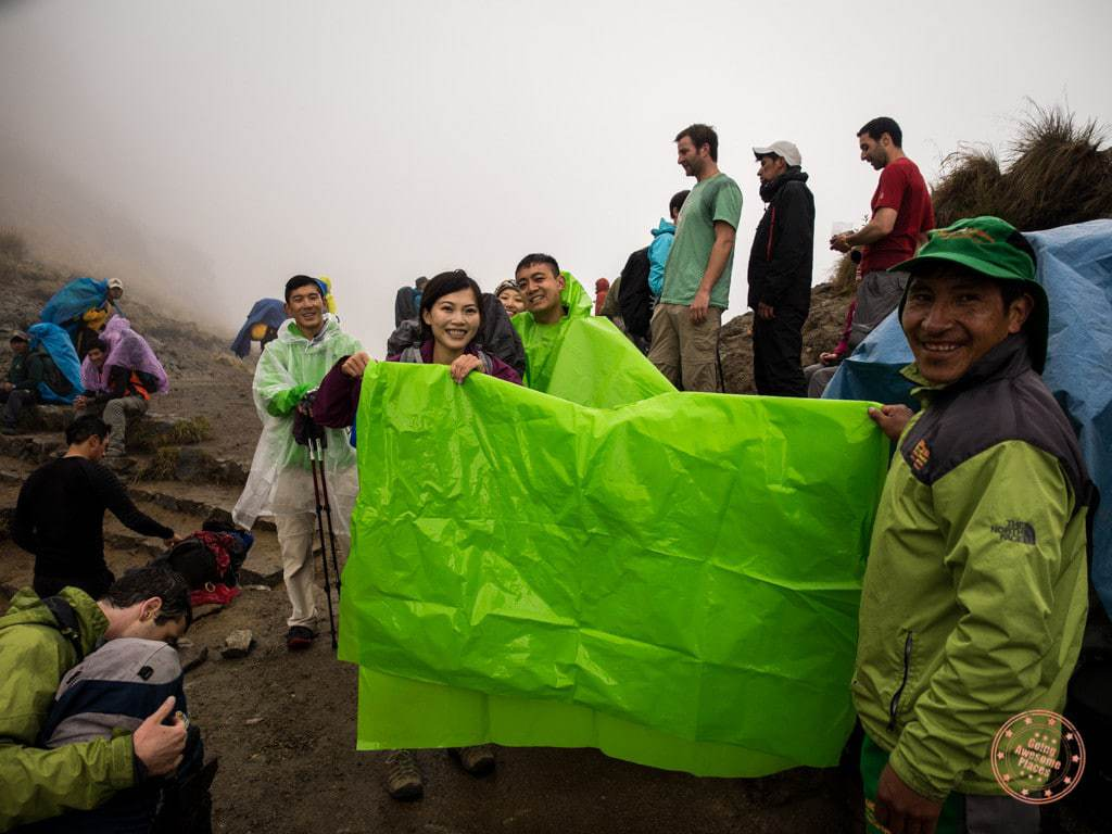 You can't imagine how much of a relief it was to reach the top. Ponchos were on and off throughout which added to the difficulty of it all.