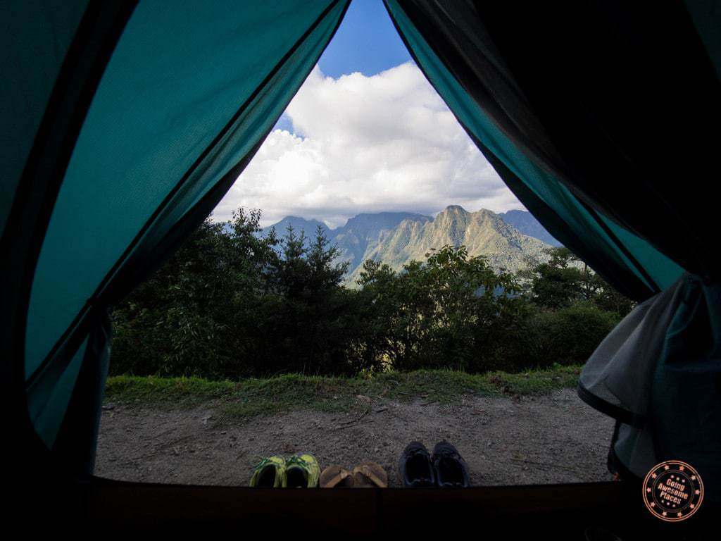 view from our tent on inca trail to machu picchu trek with alpaca expeditions