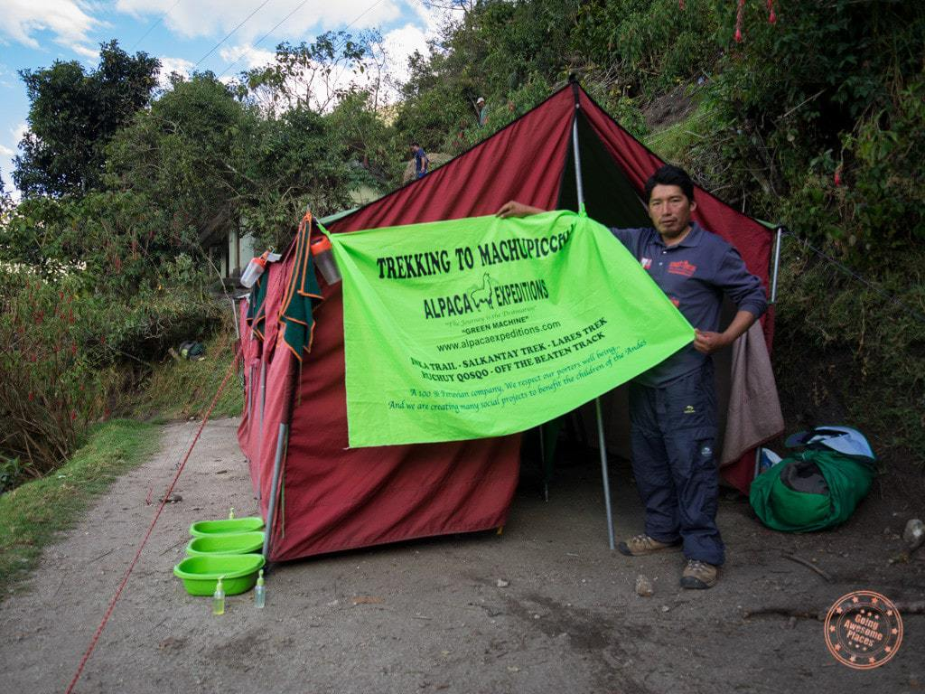 juan carloas alpaca expeditions campsite machu picchu hike